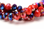 Bead, Crystal, Faceted, Rondelle, 10MM X 12MM, Red Orange Velvet, Blue Iris