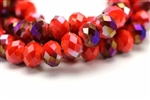 Bead, Crystal, Rondelle, Faceted, 10MM X 12MM, Red Orange Velvet, Purple Iris