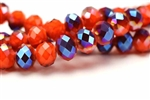 Bead, Crystal, Faceted, Rondelle, 10MM X 12MM, Orange Velvet, Blue Iris