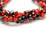 6MM X 8MM Crystal Rondelle / Orange Velvet 1/2 Jet Lustre
