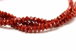 3MM X 4MM Crystal Rondelle / 8 IN Strand,Medium Red Velvet