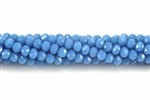 Bead, Crystal, 3MM X 4MM, Rondelle, Dark Caribbean Blue
