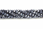 Bead, Crystal, 3MM X 4MM, Rondelle, Gunmetal Blue AB