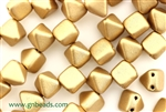6MM Pyramid Shaped Czech Beads 2 Hole / Silky Gold
