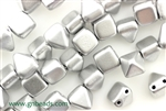 6MM Pyramid Shaped Czech Beads 2 Hole / Silky Silver