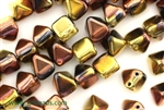 6MM Pyramid Shaped Czech Beads 2 Hole / California Gold Rush