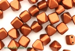 6MM Pyramid Shaped Czech Beads 2 Hole / Old Copper