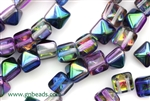8MM Pyramid Shaped Czech Beads, 2 Hole / Magic Blueberry