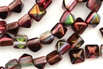8MM Pyramid Shaped Czech Beads, 2 Hole / Magic Ruby