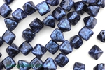 6MM Pyramid Shaped Czech Beads 2 Hole / Van Gogh Blue