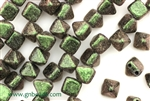 6MM Pyramid Shaped Czech Beads 2 Hole / Van Gogh Olivine