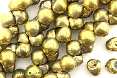 8MM X 8MM Mushroom Button Czech Beads / Gold Aurum