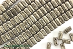 6MM Brick Shaped Czech Beads 2 Hole / Antique Chrome