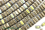 6MM Brick Shaped Czech Beads 2 Hole / Antique Chrome AB