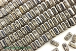6MM Brick Shaped Czech Beads 2 Hole / Crystal Chrome