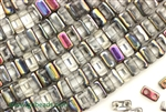 6MM Brick Shaped Czech Beads 2 Hole / Crystal Marea
