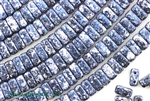 6MM Brick Shaped Czech Beads 2 Hole / Granite Galaxy Lapis