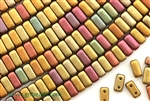 6MM Brick Shaped Czech Beads 2 Hole / Iris Metallic Mix