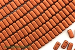 6MM Brick Shaped Czech Beads 2 Hole / Old Copper