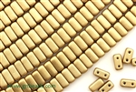 6MM Brick Shaped Czech Beads 2 Hole / Silky Gold