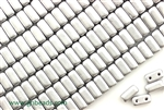 6MM Brick Shaped Czech Beads 2 Hole / Silky Silver