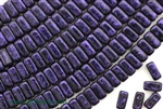 6MM Brick Shaped Czech Beads 2 Hole / Van Gogh Eggplant