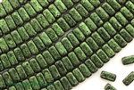 6MM Brick Shaped Czech Beads 2 Hole / Van Gogh Olivine