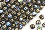 6MM Melon Shaped Czech Beads / Antique Chrome AB
