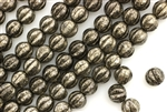 6MM Melon Shaped Czech Beads / Antique Chrome