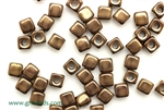 6/0 Cubix 4MM Czech Beads / Antique Bronze