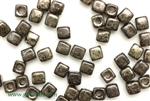 6/0 Cubix 4MM Czech Beads / Antique Chrome