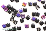 6/0 Cubix 4MM Czech Beads / Black Azurro
