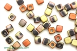 6/0 Cubix 4MM Czech Beads / Matte Black Gold Rush