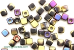 6/0 Cubix 4MM Czech Beads / Matte Black Purple Rush