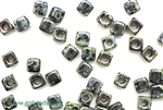 6/0 Cubix 4MM Czech Beads / Black Picasso
