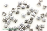 6/0 Cubix 4MM Czech Beads / Full Labrador Silver