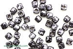 6/0 Cubix 4MM Czech Beads / Granite Galaxy Black