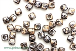 6/0 Cubix 4MM Czech Beads / Granite Galaxy Gold