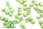 6/0 Cubix 4MM Czech Beads / Lucite Green