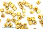 6/0 Cubix 4MM Czech Beads / White Picasso