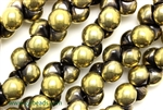 9MM X 8MM Mushroom Button Czech Beads / Black 1/2 Gold Aurum
