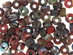 Vintage Czech Crow Beads / 6MM X 9MM Matte Multi