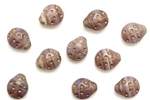 Bead, Czech, Ladybug, 11mm, Matte, Purple, Gold