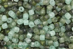 Bead, Czech, Tube, Mixed Color, Green, Glass, 6MM