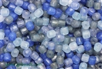 Bead, Czech, Tube, Mixed Color, Blue, Glass, 6MM