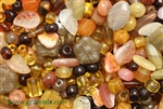 Bead, Czech, Mixed Shape Size And Color, Amber, Glass, 4MM To 25MM