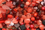 Bead, Czech, Mixed Shape Size And Color, Red, Glass, 4MM To 16MM