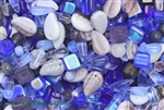 Bead, Czech, Mixed Shape Size And Color, Blue, Glass, 3MM To 16MM