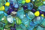 Bead, Czech, Mixed Shape Size And Color, Blue, Green, Glass, 8MM To 16MM