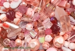 Bead, Czech, Mixed Shape Size And Color, Pink, Glass, 4MM To 16MM